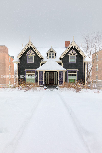 Historic Candler Cottage in Brookline Massachusetts with Snow