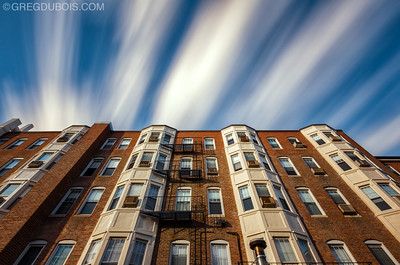 Long Exposure Cloud Movement over 1900s Boston Architecture, Rear of Hampton Court Brookline Massachusetts