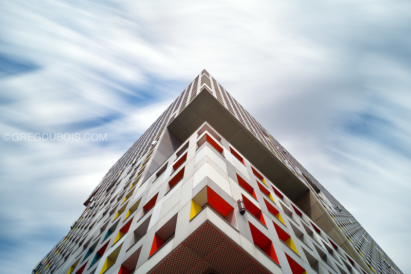 Looking Up Modern Architecture of MIT Simmons Hall in Cambridge Massachusetts