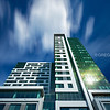 20 Child Street Tower, Looking Up Modern Architecture with Blue Sky and Cloud Movement - East Cambridge MA USA