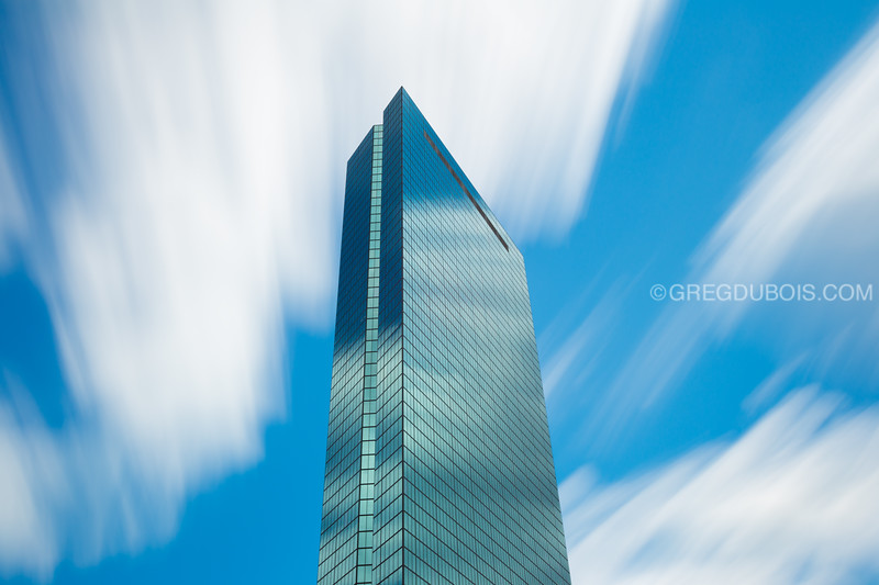 Looking up the John Hancock Tower Boston from Copley Square