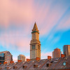 Custom House Clock Tower over Faneuil Hall Marketplace in Downtown Boston at Sunset