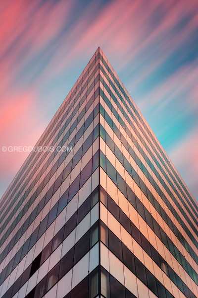 Pink Sunrise Clouds over Modern Architecture, Education First Cambridge Massachusetts