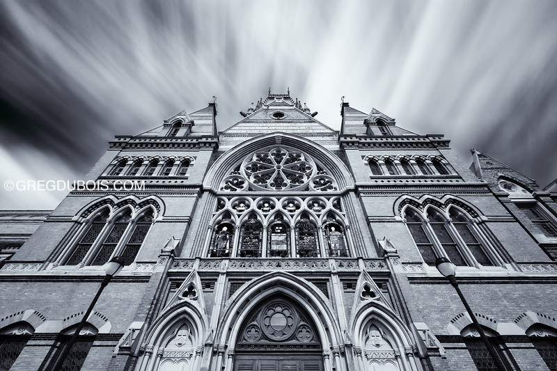 Polarized LE of Clouds over Victorian Gothic Architecture, Memorial Hall Harvard University - Cambridge MA USA