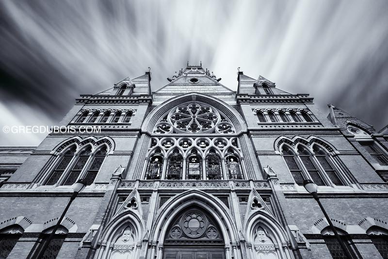 Clouds over Victorian Gothic Architecture, Memorial Hall Harvard University in Cambridge