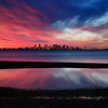 Boston Skyline from Deer Island in Boston Massachusetts with Tide Pool and Sunset