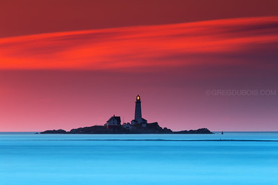 Boston Light from Lovells Island at Sunrise with Atlantic Horizon