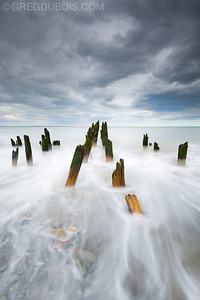 Stormy Sky over Decayed Pier in Boston Harbor Islands