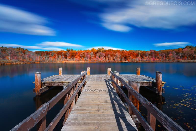 Turtle Pond Dock in West Roxbury Boston Massachusetts in Fall