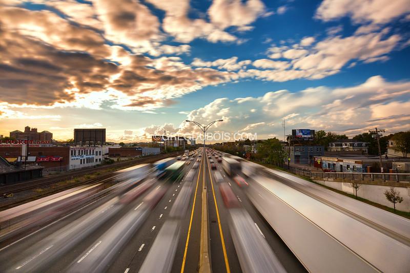 Mass Pike Boston Rush Hour Traffic at Warp Speed, Allston Neighborhood Boston Massachusetts