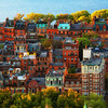 Rows of Brownstones in Boston's Back Bay during Fall with Charles River