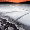Chestnut Hill Reservoir Ice and Rocks at Sunset, Boston Massachusetts