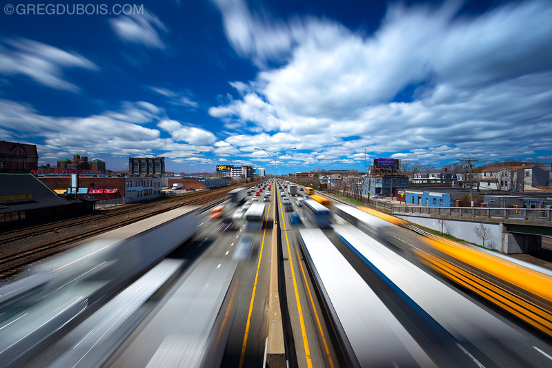 Mass Pike Boston Traffic at Warp Speed in Allston-Brighton, Boston Massachusetts USA