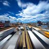 Mass Pike Boston Traffic at Warp Speed in Allston-Brighton, Boston Massachusetts USA
