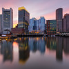 Boston Waterfront Skyline with Sunset Reflection over Fort Point Channel