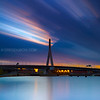 Surreal Sunrise over Zakim Bridge and Charles River in Boston Massachusetts