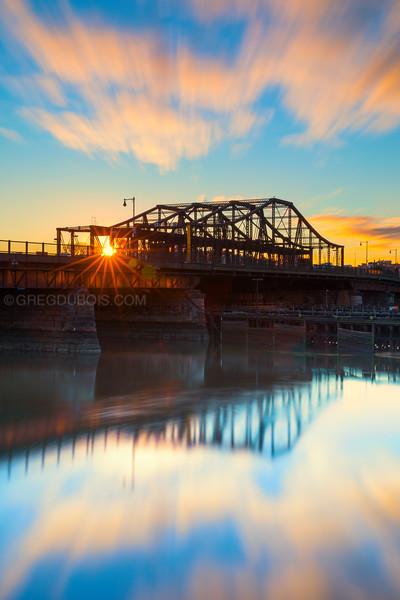 Charlestown Bridge Reflects on Charles River at Sunrise in Boston Massachusetts
