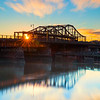 Charlestown Bridge Reflects on Charles River at Sunrise in Boston Massachusetts
