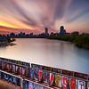 Sunrise over Boston Skyline, Charles River, and CSX Railroad Bridge from BU Bridge