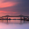 Tobin Bridge spans Mystic River into Boston at Sunrise from Charlestown