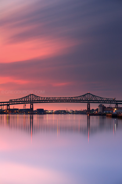 Tobin Bridge spans Mystic River into Boston at Sunrise from Charlestown