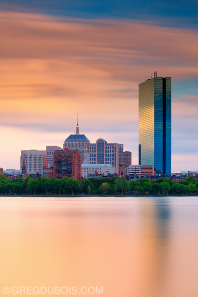 Hancock Tower and Back Bay Skyline at Sunset over Charles River Esplanade