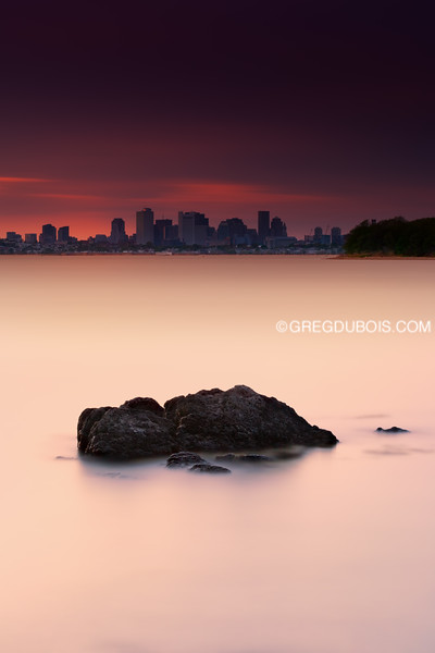Boston Skyline over Sea Rock and Thompson Island at Sunset from Quincy Massachusetts
