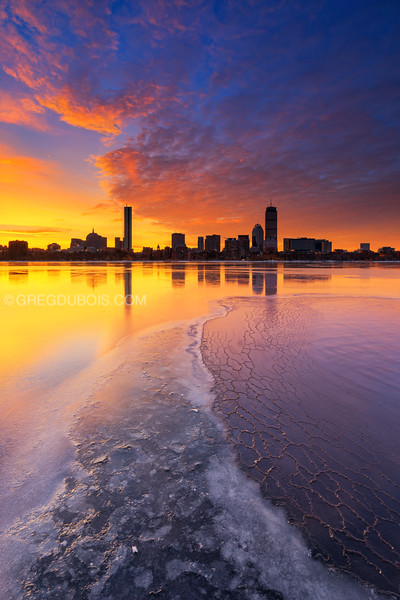 Back Bay Boston Skyline with Icy Charles River at Sunrise