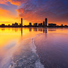 Icy Charles River and Sunrise over Back Bay Boston
