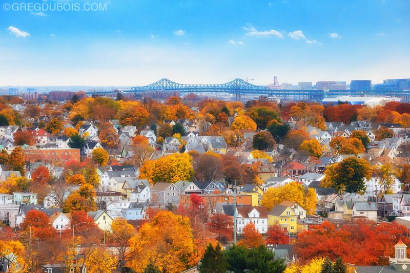 Fall in Boston Suburbs with Tobin Bridge in Malden Massachusetts