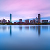 Back Bay Boston Skyline Reflecting on Charles River over Esplanade at Dawn - Cambridge MA USA