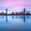 Back Bay Boston Skyline Reflecting on Charles River over Esplanade at Dawn - Cambridge MA USA