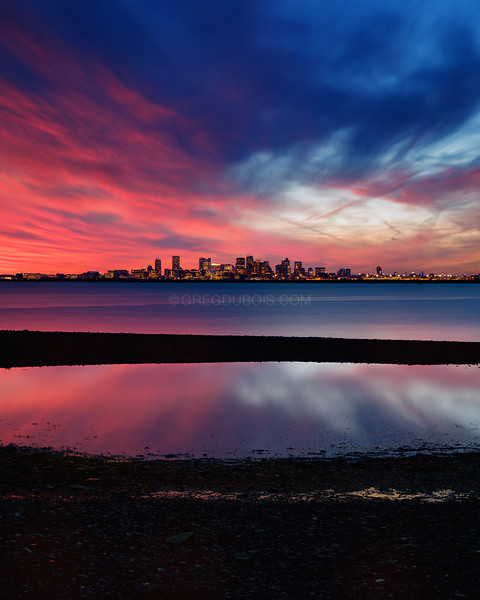 Boston Skyline over Tide Pool at Sunset from Deer Island in Boston Massachusetts