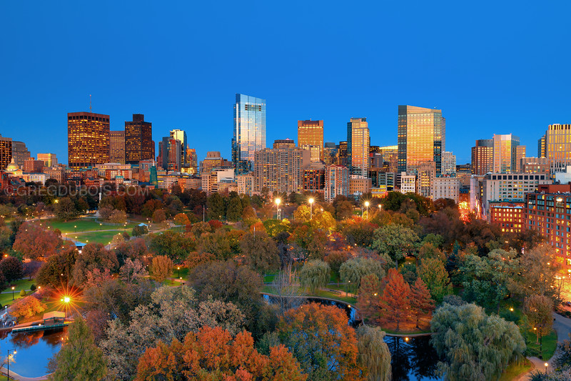 Downtown Boston Skyline over Public Gardens and The Common at Nightfall in Autumn