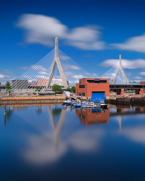 Leonard P. Zakim Bunker Hill Memorial Bridge on Cloudy Blue Day
