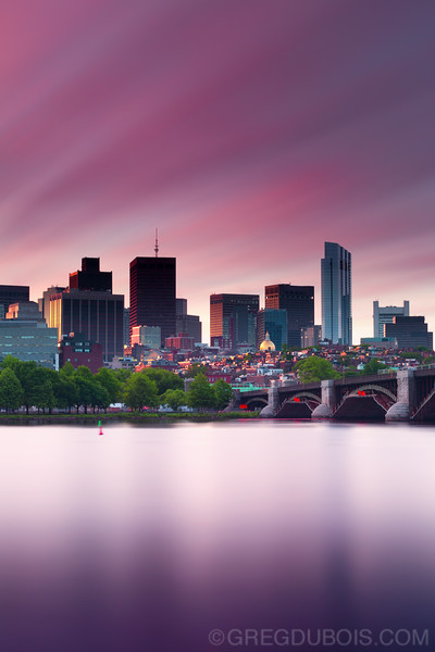 Sunrise Light over Beacon Hill and Charles River with Downtown Boston Skyline