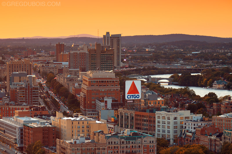 Boston Citgo Sign in Kenmore Square with Boston University and Surrounding Hills