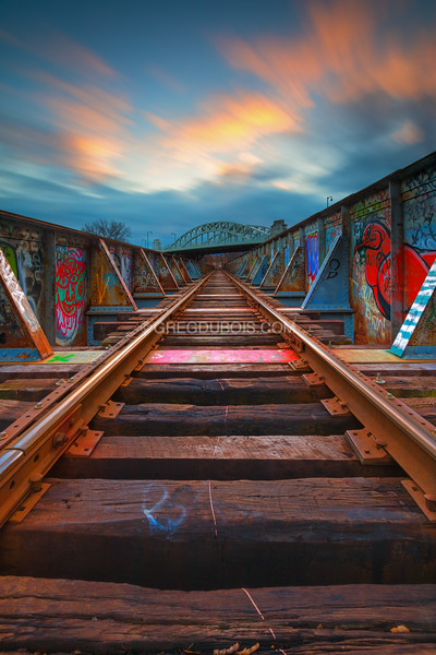 BU Bridge spans Train Tracks at Sunset in Boston Massachusetts