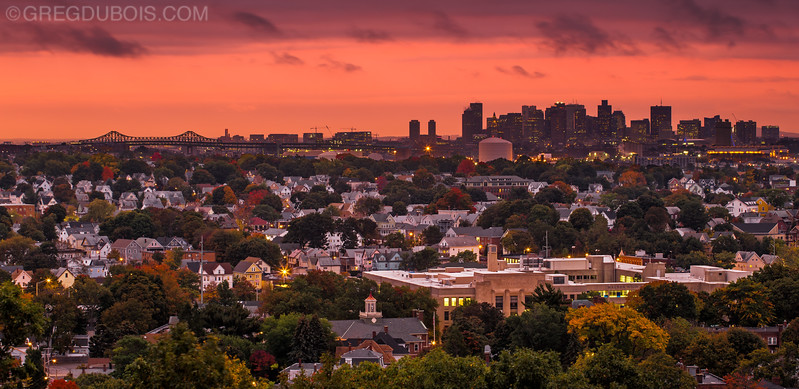 Sunrise over Downtown Boston Skyline and Suburbs with Tobin Bridge and Fall Color, Waitts Mountain Malden Massachusetts
