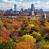 Back Bay Boston Skyline over Fall Foliage from Mount Auburn Cemetary in Cambridge Massachusetts