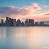 Stormy Sunset over Boston Skyline and Boston Harbor from Piers Park East Boston, Massachusetts USA