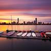 Extreme Long Exposure Cloud Movement at Sunrise over Boston Skyline, MIT Sailing Pavilion, and Charles River - Cambridge Massachusetts USA