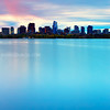 Millennium Tower and Downtown Boston over Charles River at Sunrise from Cambridge