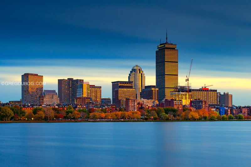 Back Bay Boston Skyline and Charles River Esplanade with Fall Colors at Sunset from Cambridge Massachusetts