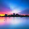 Sunrise over West End Boston Skyline and Charles River from Cambridge Massachusetts
