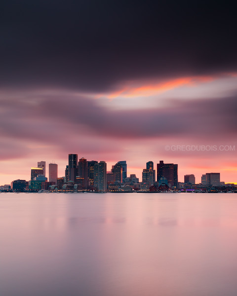 Boston Skyline Sunset with Night Lights from Piers Park East Boston