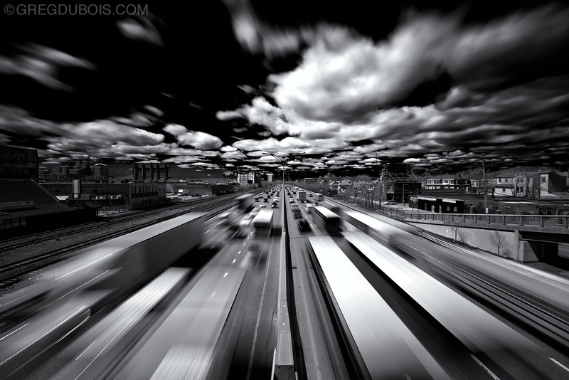 Mass Pike Boston Warp Speed Traffic (Mono) in Allston-Brighton