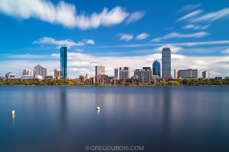 Back Bay Boston Skyline over Charles River and Esplanade with Buoys and Clouds, Polarized Extreme Day LE