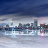 Winter Fog Rolls over Back Bay Boston Skyline, Harvard Bridge, and Icy Charles River at Night, Cambridge MA USA