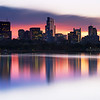 Sunrise over Charles River and Boston Skyline with Millennium Tower